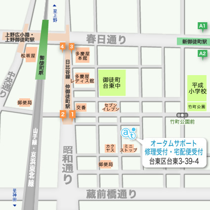 オータムサポートの周辺地図画像です。:近隣駅は日比谷線仲御徒町駅1番出口です。